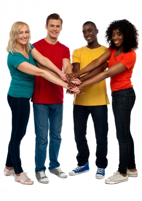 smiling-friends-joining-hands